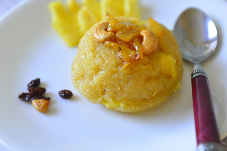 Pineapple Kesari - Dessert made with semolina and pineapple