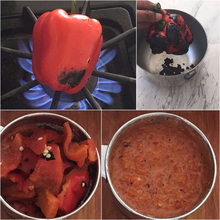 Making Red Bell Pepper Chutney