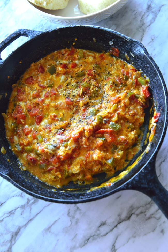 Menemen - Turkish scrambled eggs with tomatoes and peppers