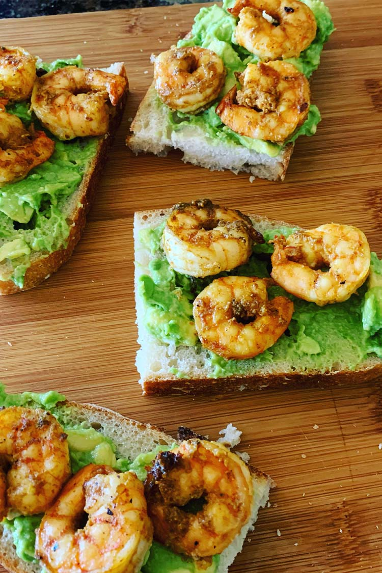 Crispy grilled Shrimp on avocado toast
